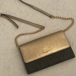 Michael Kors Gold and Brown Crossbody Purse